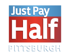 just pay half logo recreated